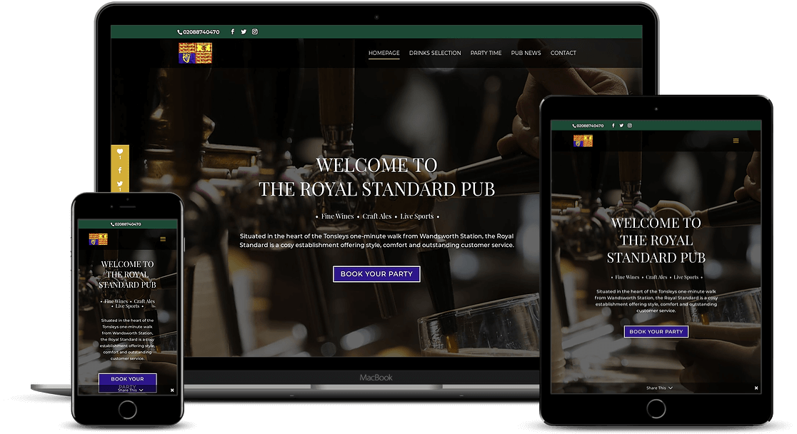 The Royal Standard Pub Kamila Plachetkova Web Design